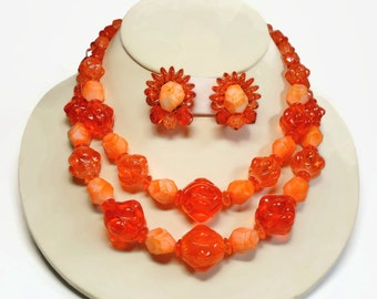 Germany 2 Strand Beaded Necklace & Earrings in Orange Monochromatic Color Art Beads - Vintage 50's Gold Demi Parure Costume Jewelry Sets