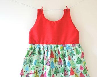 Red Christmas tree dress, Christmas dress, Christmas print, Christmas gift, Christmas outfit, holiday outfit, holiday dress, baby dress
