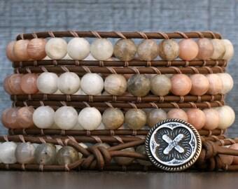 moonstone bracelet - wrap bracelet - natural mixed moonstone on chocolate brown leather - boho gypsy bohemian western - labradorite sunstone