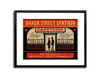 Baker Street Station Cafeteria London Matchbox Label Art Print