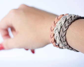 Braided Leather Bracelet Trio / Desert Canyon
