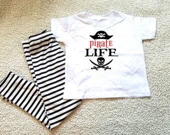 Pirate life graphic children's Tshirt. Sizes 2T, 3t, 4t, 5/6T funny graphic kids shirt gift, pirate shirt, kids girls, kid boys