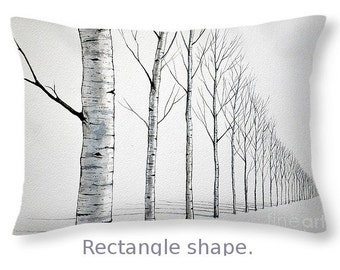 Throw Pillow, Row of Birch Trees in the snow, size of 14x14 to 26x26 inches Fine Art Painting by Christopher Shellhammer
