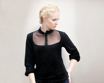 M.I.R.A  black blouse shirt
