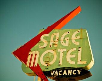 Sage Motel Neon Sign Photo | Route 66 Needles | Mid Century Modern Decor | Fine Art