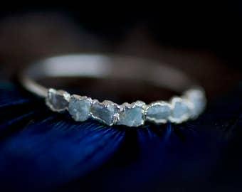 Larimar-Ring. Larimar-Band. Larimar-Band-Ring. Larimar-Hochzeit Band-Ring. Roher Larimar Ring