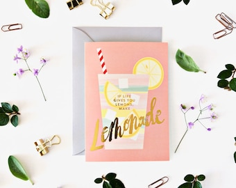 Lemonade Greeting Card with gold foil