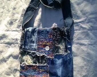 Denim Gypsy Boho Tattered Scrap Work Bag