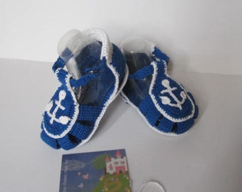 Anchor Baby Boy Sandals Shoes, Crochet Nautical Baby Boy Booties, Nautical Baby Shower, Baby Boy Sandals Nautical Shoes Crochet Baby Booties