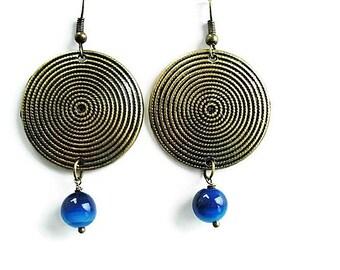 Agate Earrings Gemstone Jewelry Tribal Earrings Statement Jewelry Large Earrings Bohemian Jewelry Gypsy Earrings Blue Jewelry Boho Earrings