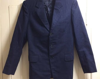 "1960s Mod 3 Piece +1 Suit Navy Pinstripe 28"" UK10"