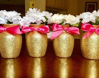 4 Wedding Centerpieces,Bridal Shower Decorations, Baby Shower Centerpiece, Gold Wedding Decor, Glitter Vase, Birthday Centerpieces.