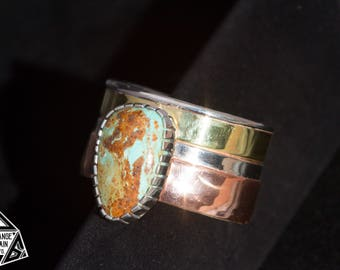 Women's • Sterling Silver • Copper • Brass • Turquoise • Cuff • Kingman Turquoise • Wide Cuff • Turquoise Jewelry • Turquoise Bracelet