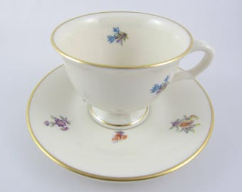Vintage Pickard Floral Chintz Demitasse Teacup and Saucer, Made in USA. Pattern 3004
