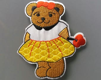 Teddy bear badge 8 cm thermocollant