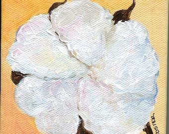 Original Cotton mini canvas painting art, Rustic Cotton boll mini acrylic painting art, SharonFosterArt Farmhouse decor