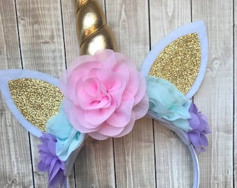 Lavender, Aqua and Pink Unicorn Headband, Princess Headband, Birthday Headband, Birthday Crown, Girls Headband, Rainbow Headband
