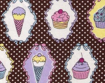 Sale (30) HALF YARD Yuwa - Ice Cream Cones and Cupcakes on Brown - White Polka Dot, Cherry, Chocolate Sundae, Sprinkles - Imported Japanese