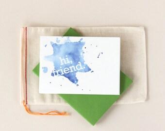 Hi Friend : Watercolor Notecard Set