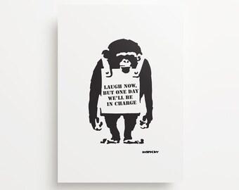 Banksy's Monkey Alone Giclée Print