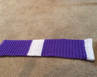 Purple & White Crochted Scarf