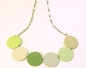 Modern geometric wooden necklace- circular in green, beige and gray color - modern, contemporary, minimalist handmade jewelry- eco friendly