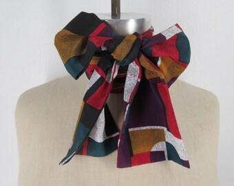 Atomic vintage ascot geometric cravat polyester neck wrap modern tie bow rockabilly neckwear retro hipster bohemian accessory Mod bow tie