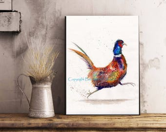 RUNNING PHEASANT, A3 Canvas Wrap Print From My Watercolour Art - Ready to hang