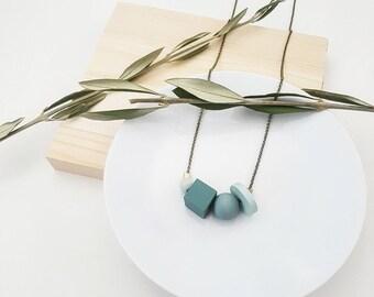 Mae Necklace   Petite Geometric beads   Seafoam