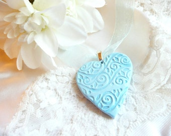 Something Blue Heart, Wedding Bouquet Charm, Bride Gift, Wedding Jewelry, Heart Pendant, optional ball chain necklace, polymer clay
