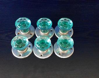 Vintage Green Glass door knobs Set of 6 door handles Glass knobs Made in USSR
