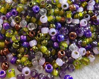 8/0 Miyuki Seed Bead Mix, 25 grams, Purple/Olive/Copper/Amethyst (0063)