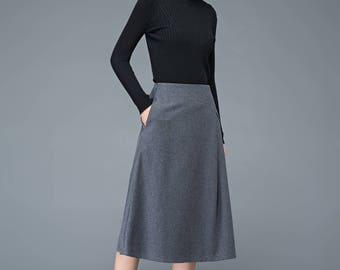 A line skirt, Midi skirt, wool skirt, dark gray skirt,  womens skirts, winter skirt, pleated skirt, pocket skirt, custom skirt C1192