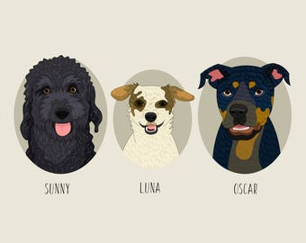 Portrait of 3 pets. Dog portraits. Dog replica. Custom pet portraits. Custom dog portrait. Quirky dog portrait. Cat portrait.