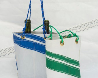 Sailcloth Wine Bag, Double Bottle, Recycled Sail Tote