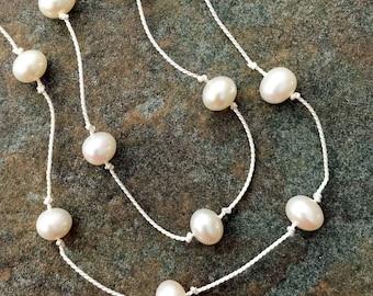White Freshwater Pearls Knotted on White Silk Cord Necklace