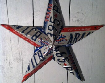 Heavy Duty Barn Star Handmade Using Used License Plates.