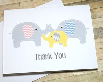 Baby Thank You Card Set, Gender Neutral Elephant Baby Shower Thank You Cards, Elephant Thank You Cards, Gender Neutral Yellow Cards