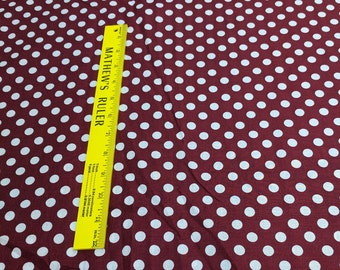 White Polka Dots on Burgundy Cotton Fabric