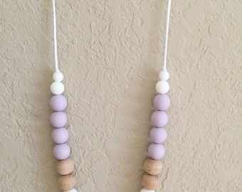 Silicone Teething Necklace, Nursing Necklace, Chew Beads, lavender and peach