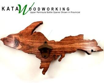 Michigan Upper Peninsula Wood Cut-out Bottle Opener - Handmade - Wall Mount