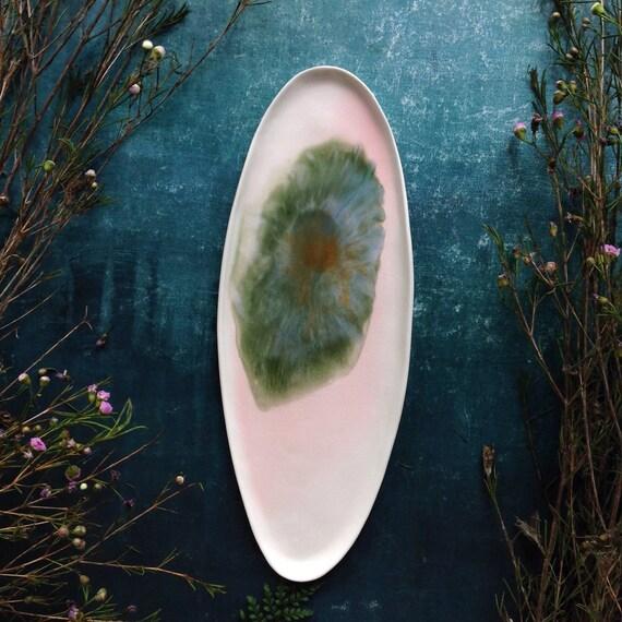 Warercolor pink blue green porcelain platter handmade ceramics