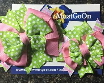 Dolly and Me Bow Set/ Spring Bow Set/Polka Dot Bow Set/Matching Bow Sets/Doll and Me bows/Pastel Bows/ Spring Bows