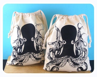 Octopus Produce Bags - Grocery bags Vegan/Vegetarian - farmers market bag reusable and washable gift bags Housewares eco friendly gifts