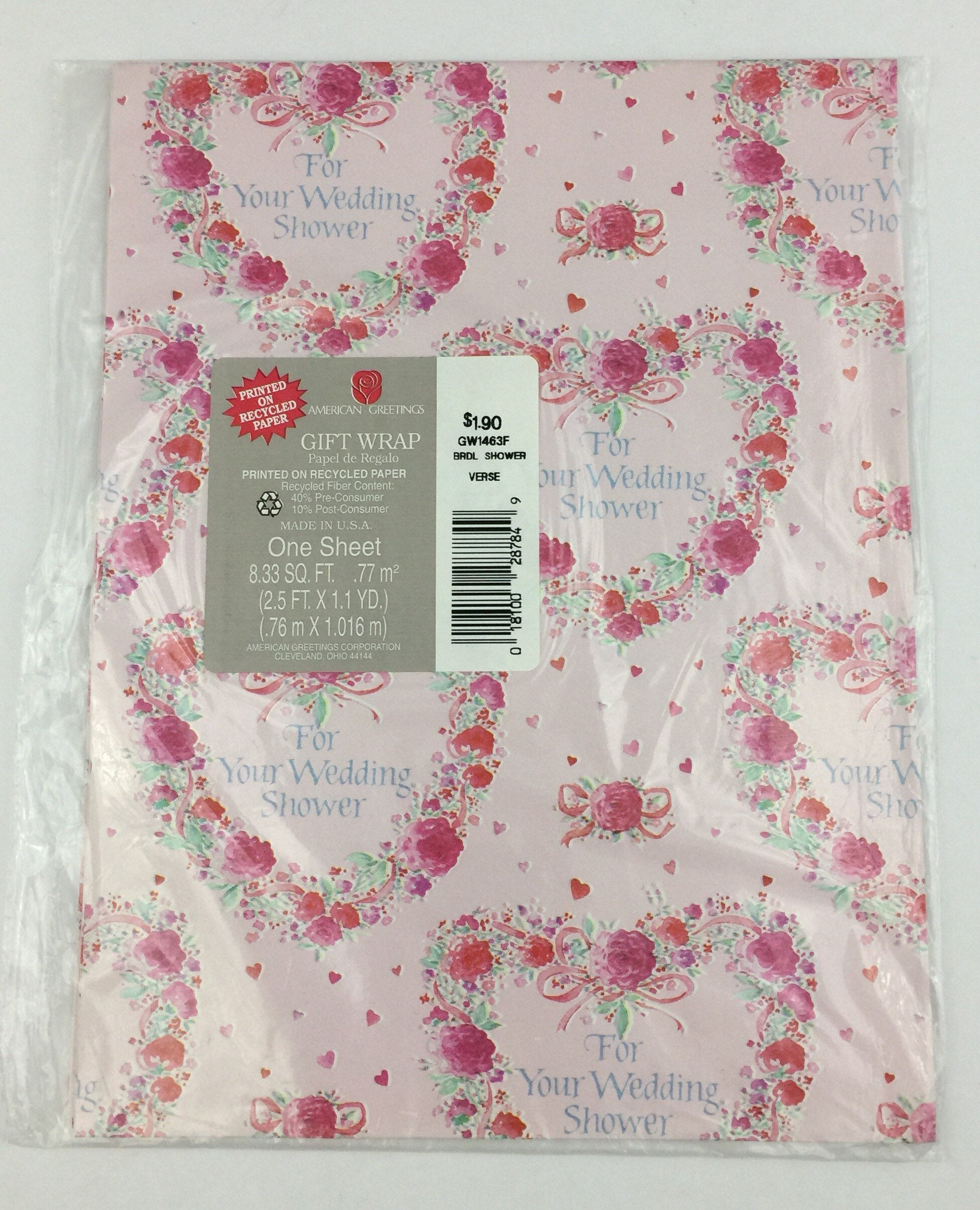 Vintage american greetings gift wrap wedding shower pink zoom m4hsunfo Images