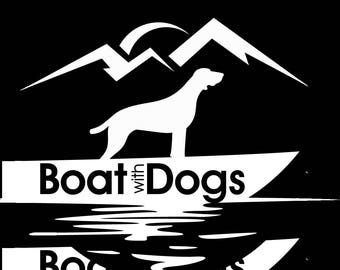 "BoatwithDogs 4"" circle sticker"