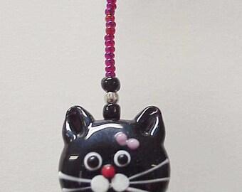 Cute Black Kitty Face Glass Lampwork and Millefiori Beaded Fan or Light Pull Single