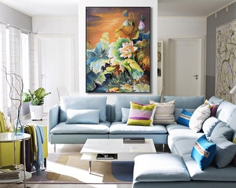 Large abstract painting, Original modern canvas painting, Home decor canvas art, Wall Art, Abstract art flowers