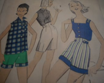 Vintage 1950's Advance 8593 Girl's Blouse, Shirt and Shorts Sewing Pattern Size 8, Bust 28