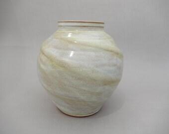 Pottery Vase - Spherical Altered Ceramic Vessel - Terracotta Handmade Earthenware